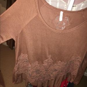 Free People Lace Trim LS Top